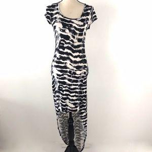 Guess Asymmetric White Black Maxi Dress Size S